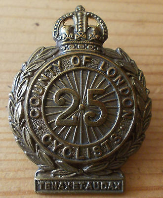 25th County of London Cyclists Cap Badge