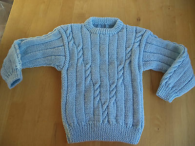 "Boys hand knitted jumper 22-24"" chest approx age 2,3,4 years Light Blue"