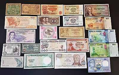 Antique Lot of 22 Collection Mixed Banknotes VF - UNC