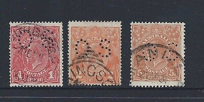 "Australia Three Kg5 Heads Perfed ""os"" - See 2 Scans"