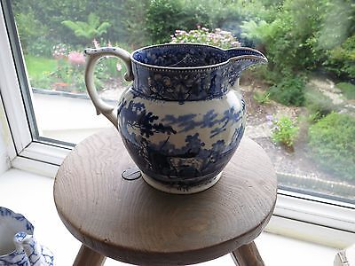 """Antique Swansea/Welsh Blue and White """"Drover's"""" Jug"""