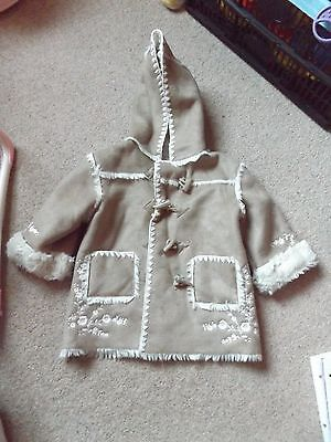 Monsoon girls suede look coat aged 12-18 months
