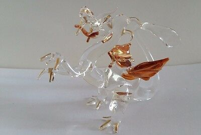 Signed Dudek JH? Handblown Glass Dragon with Gold Tips