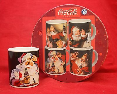 Sakura Set of 4 COCA-COLA Holiday Portraits Santa Coffee Mugs Cups Coke NIB