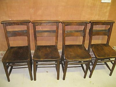 SET OF 4 OLD CHURCH / CHAPEL CHAIRS. Delivery poss. MORE AVAILABLE, ALSO PEWS .