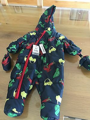 George @ Asda Baby Boy Pram / Snowsuit Navy 0-3 Months BNWT