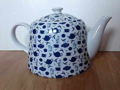 "Collectable Unusual Tetley Tea ""gaffer"" Blue & White Pattern Teapot"