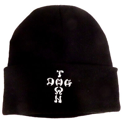Dogtown Beanie Hat - Embroidered Cross Letters Black -skateboard skate board new