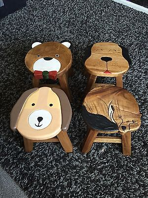 Shabby Chic Childrens And Kids Solid Wood Wooden Stool Seat Teddy Bear Design