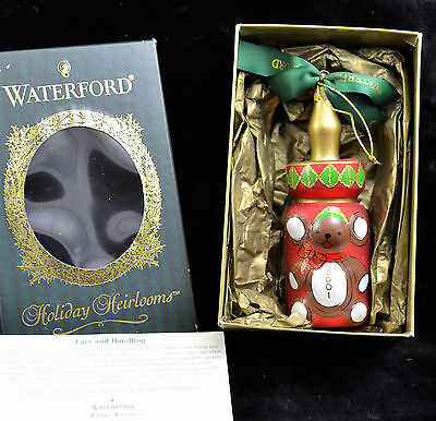 Waterford Christmas Ornament 2001 Baby Bottle Hand Blown Painted Holiday