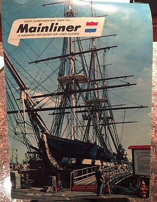 Vintage June July 1960 United Air Lines Mainliner Magazine for Guests - Boston