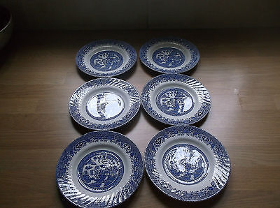 Barratts Blue & White  Willow Pattern 6 Tea Plates