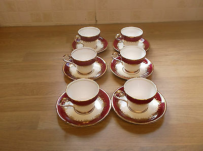 Vintage Aynsley China Rutland  6 Coffee Cups and Saucers