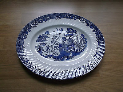 "Barratts Blue & White  Willow Pattern  12"" Meat Plate"