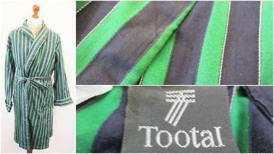 XL Vintage 80s Tootal Mens Blue Green Stripe Night Gown Robe Smoking Jacket L471