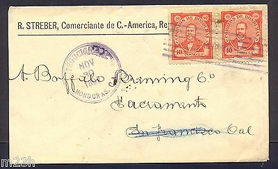 Honduras; Cover sent from Tegucigalpa to San Francisco on 1897. Arias issue