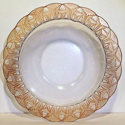 """RARE Old Vtg Art Deco Lalique Glass Center Bowl Abstract Trees Pink Patina 10.5"""""""