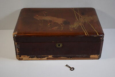 Vintage / Antique Oriental Lacquered Box With The Original Key For Restoration.