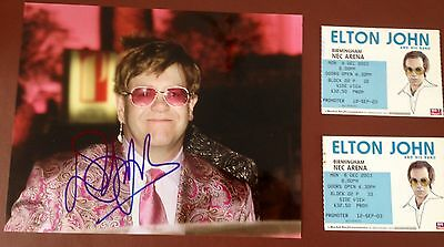 Elton John PERSONALLY SIGNED Colour 10x8 Photograph & Promoters Concert Ticket