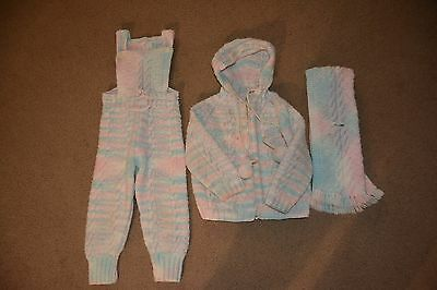 Vintage 1970s Girl's Hand-Knitted Acrylic Wool Bib Overalls, Sweater & Scarf Set