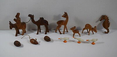 Collection Of Small Wooden Animals Including Painted Geese / Ducks