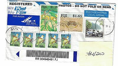 5 Fiji provisional stamps on registered cover, plus 3 others.  All different.
