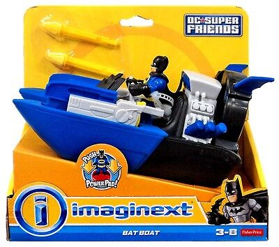Imaginext Batboat with Batman Figure DC Super Friends NEW Fisher Price Bat Boat