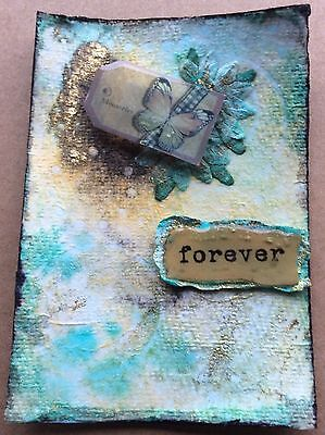 """ACEO original, """"Memories, Forever"""" mixed media painting"""