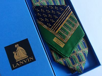 Lanvin Silk Tie and Pocket Handkerchief Boxed Set - Blue/Green/Gold