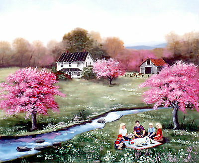 Country Print of Original Landscape Painting Picnic Pink Tree Folk Art Arie Tayl
