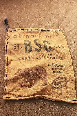 VINTAGE LARGE JUTE SACK HESSIAN BURLAP COFFEE BEAN BAG VINA CAFE 18x16 Inches