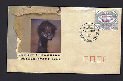 Australia post first day cover 2 Jan 1992 - vending machine postage stamp.
