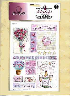 Heritage craft - Motifs - Congratulations - contains 3 sheets. Brand new.