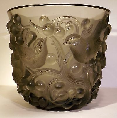 Rare Old 1920's R. Lalique Signed Art Glass AVALLON Birds Topaz Gray Vase AS-IS
