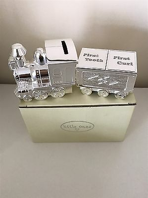 Silver Plated Metal Baby Christening Gift Train Carriage Money box Tooth Curl