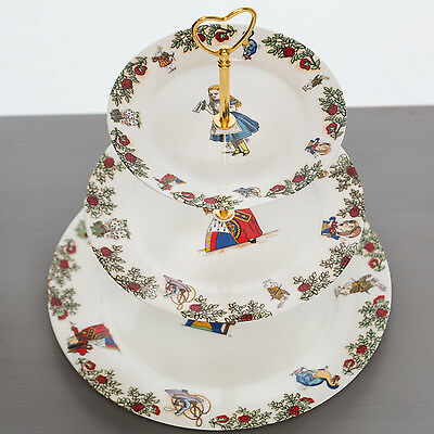 Alice In Wonderland Bone China 3 Tiered Cake Stand