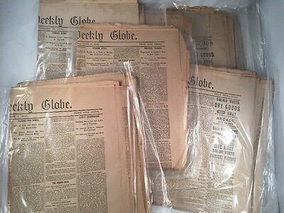 Lot 10 Old Antique Vintage Boston Weekly Globe Full newspapers From 1882 1880s