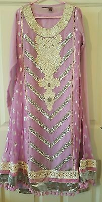 Girls lilac indian kameez anarkali churidar 8 9 size 28 Pakistani Asian suit kid