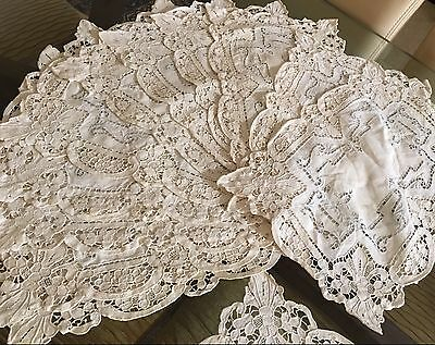 Fine Antique Handmade NEEDLE LACE, EMBROIDERY 12 PC Placemat Set LINEN off White