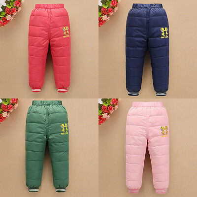 Boys Girls Trousers Thicken Winter Pants For-35C Duck Down 4 Colors Pants SZ 3-6