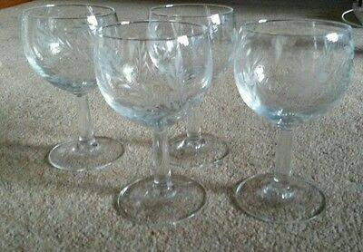 4 Vintage Etched Wine Champagne Glasses Vgc