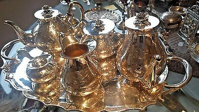 7 Pc Solid Sterling French Deco Rose Hand Chased Tea-Coffee Set Service & Tray