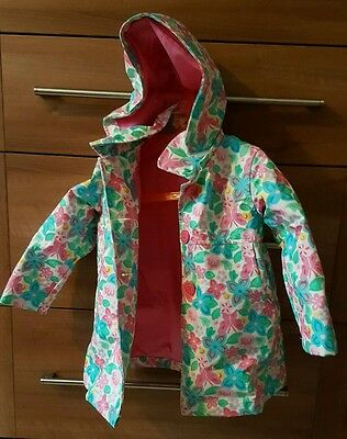 Sugar Pink Flowery Hooded Raincoat Coat. For Autumn/Winter! 2-3 years