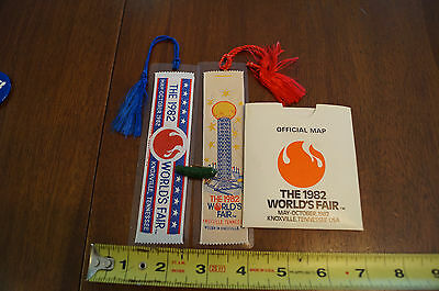 1982 Worlds Fair Knoxville Tennessee Lot of Book Marks Pinbacks Map