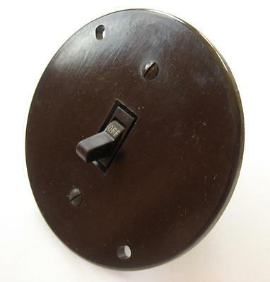 Vintage GE Round Light Switch Cover Plate Brown Bakelite USA Plastic