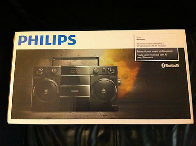 PHILIPS Boombox VINTAGE OST690 Bluetooth NEW IN BOX USB/MP3/SMARTPHONE