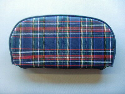 Blue Tartan/ Dark Blue Boarder Scooter Back Rest Cover (Purse Style)
