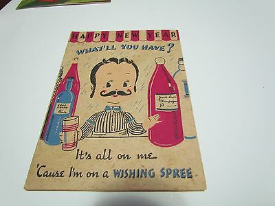 Vintage Greeting Card Made In Usa Dated 1945 Happy New Year Awesome