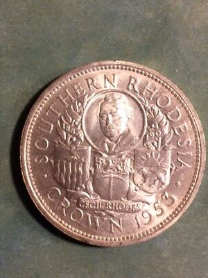1953 Southern Rhodesia 1 silver crown coin in mint condition