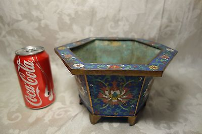 Fine Antique Chinese Cloisonne Enamel Hexagon Planter